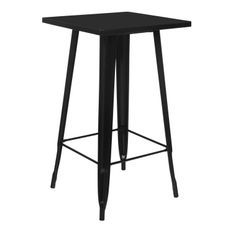 Table de bar carrée acier brillant noir Kontoir 60 cm