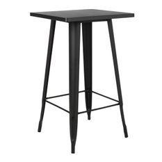 Table de bar carrée acier mate noir Kontoir 60 cm