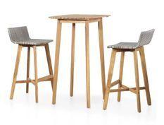 Table de bar carrée et 2 chaises de jardin acacia massif clair et résine tressée gris Vidot