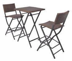 Table de bar carrée et 2 chaises de jardin résine tressée marron Klark