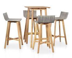 Table de bar carrée et 4 chaises de jardin acacia massif clair et résine tressée gris Vidot