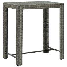 Table de bar de jardin Gris 100x60,5x110,5 cm Résine tressée