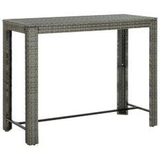 Table de bar de jardin Gris 140,5x60,5x110,5 cm Résine tressée