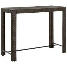 Table de bar de jardin Marron 140,5x60,5x110,5cm Résine tressée