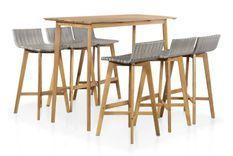 Table de bar et 6 chaises de jardin acacia massif clair et résine tressée gris Vidot 150