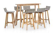 Table de bar et 6 chaises de jardin acacia massif clair et résine tressée gris Vidot