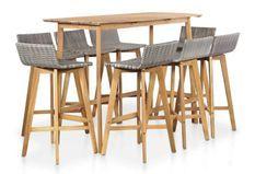 Table de bar et 8 chaises de jardin acacia massif clair et résine tressée gris Vidot
