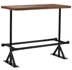 Table de bar industriel bois massif foncé et pieds acier noir Vauk 120