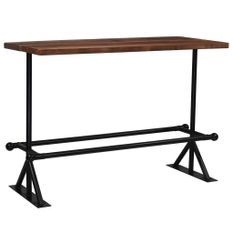 Table de bar industriel bois massif foncé et pieds acier noir Vauk 150