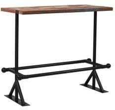 Table de bar industriel bois reconditionné et pieds acier noir Vauk 150