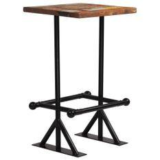 Table de bar industriel bois reconditionné et pieds acier noir Vauk 60