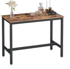 Table de bar industriel bois vintage et acier noir Kaza 120 cm