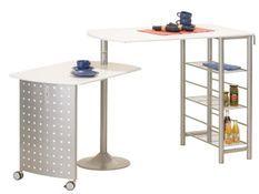 Table de bar pivotante laqué blanc et pieds métal Mento