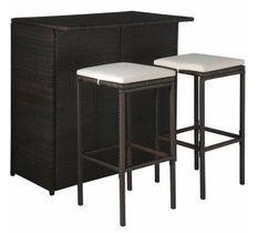 Table de bar rectangulaire et 2 tabourets de jardin résine tressée marron Klark