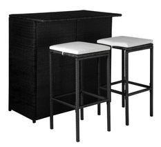 Table de bar rectangulaire et 2 tabourets de jardin résine tressée noir Klark
