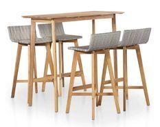 Table de bar rectangulaire et 4 chaises de jardin acacia massif clair et résine tressée gris Vidot