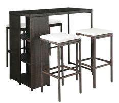 Table de bar rectangulaire et 4 tabourets de jardin résine tressée marron Klark