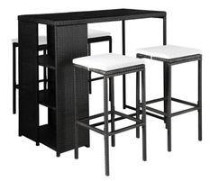 Table de bar rectangulaire et 4 tabourets de jardin résine tressée noir Klark
