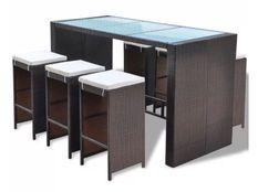 Table de bar rectangulaire et 6 tabourets de jardin résine tressée marron Boo