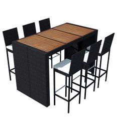 Table de bar rectangulaire et 6 tabourets de jardin résine tressée noir Klark