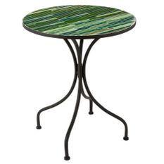 Table de bar verre à mosaïque vert et pieds métal noir Verde