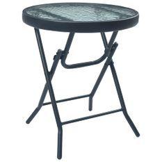 Table de bistro Noir 40x46 cm Acier et verre