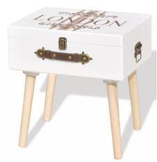 Table de chevet 1 coffre bois blanc et pieds bois massif Kisana