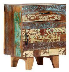 Table de chevet 1 porte 1 tiroir bois massif recyclé