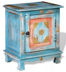 Table de chevet 1 porte oriental manguier massif bleu turquoise Pinkie