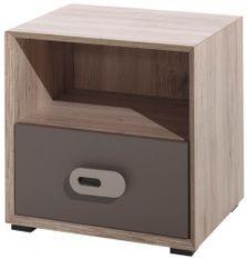 Table de chevet 1 tiroir 1 niche bois clair et marron Foresta