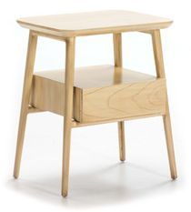 Table de chevet 1 tiroir 1 niche bois massif clair Gus