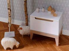 Table de chevet 1 tiroir bois blanc et hêtre clair Evidence
