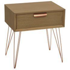 Table de chevet 1 tiroir bois et métal or rose James