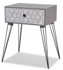 Table de chevet 1 tiroir bois gris et pieds métal noir Chicca