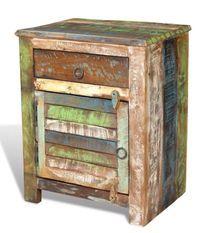 Table de chevet 1 tiroir et 1 porte bois massif recyclé Moust