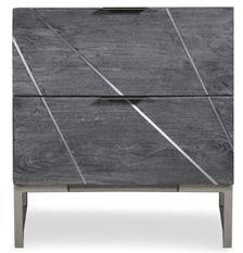 Table de chevet 2 tiroirs acacia massif et métal gris Toupma