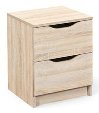 Table de chevet 2 tiroirs bois chêne clair Bokus