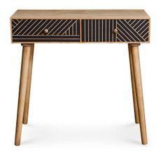 Table de chevet 2 tiroirs bois clair et noir Maniane