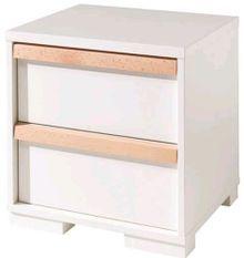 Table de chevet 2 tiroirs bois de hêtre blanc London