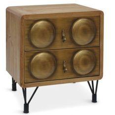 Table de chevet 2 tiroirs bois et métal bronze Biba