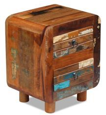 Table de chevet 2 tiroirs bois massif recyclé Moust