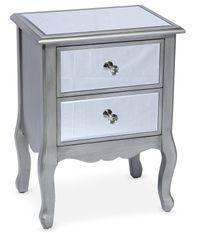 Table de chevet 2 tiroirs miroir argenté Venio