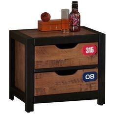Table de chevet 2 tiroirs pin massif foncé et noir Alex