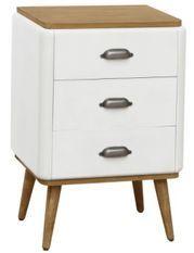 Table de chevet 3 tiroirs bois blanc et clair Haziel