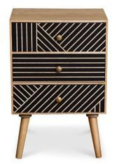 Table de chevet 3 tiroirs bois clair et noir Maniane