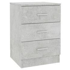 Table de chevet 3 tiroirs bois gris effet béton Metiu