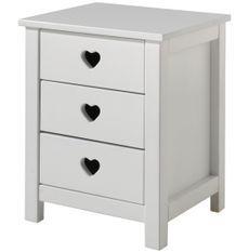 Table de chevet 3 tiroirs bois laqué blanc Cœur