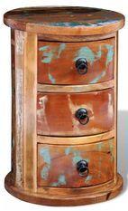 Table de chevet 3 tiroirs bois recyclé Moust