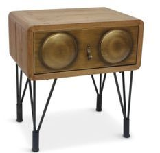 Table de chevet bois et métal bronze Biba