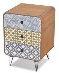 Table de chevet rectangulaire 3 tiroirs bois multicolore et pieds métal noir Chicca